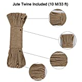 Simpleulife Small Natural Wood Mini Little Reusable Clip Clothes Pin Kits Metal Spring Jute Twine String Miniature for Hanging Photos,Decorative,Play Art Toy,Party,Tan Cute Old Fashioned Crafting