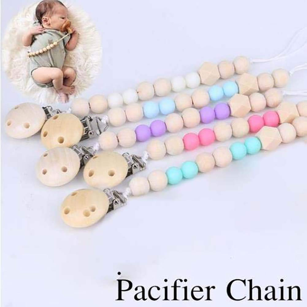 Alivier Baby Teething Grasping Toy Baby Pacifier Holder Clip Natural Wooden Beads Nursing Teether Dummy Chain