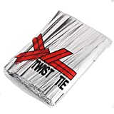 Household and Baking 100pcs 0.4mmX10cm Metallic Twist Ties for Cookies Bags in Birthday Wedding Party (Silver)