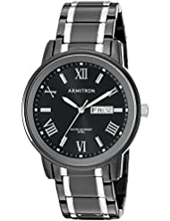 Armitron Mens 20/4935BKTB Day/Date Function Black and Silver-Tone Bracelet Watch