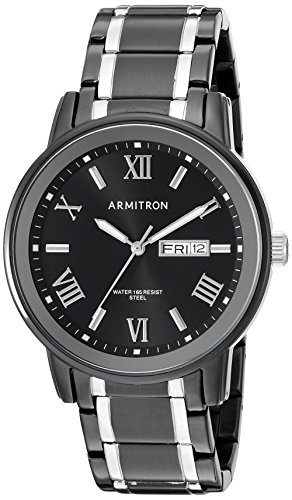 Armitron Men's 20/4935BKTB Day/Date Function Black and Silver-Tone Bracelet Watch
