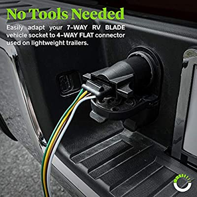 ONLINE LED STORE 7-Way Blade to 4-Way Flat Trailer Adapter [Nickel-Plated Copper Terminals] [Rugged Nylon Housing] [Compact Design] 7-pin to 4-pin Trailer Wiring Plug Adapter: Automotive