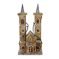 """Northlight 15.75"""" LED Lighted Double Tower Brown Wooden Church Christmas Decoration"""