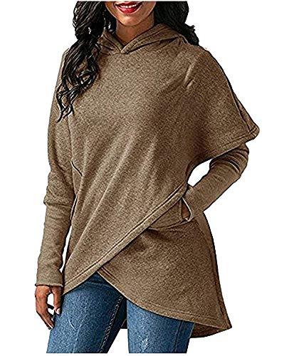 camel poches longues 103cm asymétrique à à buste taille de ourlet XL et manches Sweat couleur Zhrui Tgw8qvt
