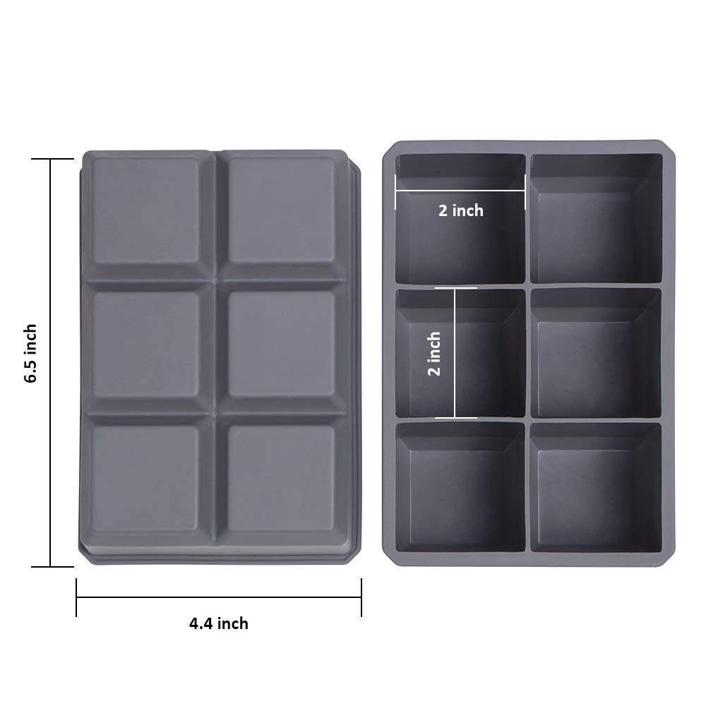 Cocktails and Treats Pack of 2 Large Square Ice Cube Molds BPA Free Easy Release Webake 2 Inch Large Ice Cube Trays Flexible Silicone Ice Cube Tray for Whiskey