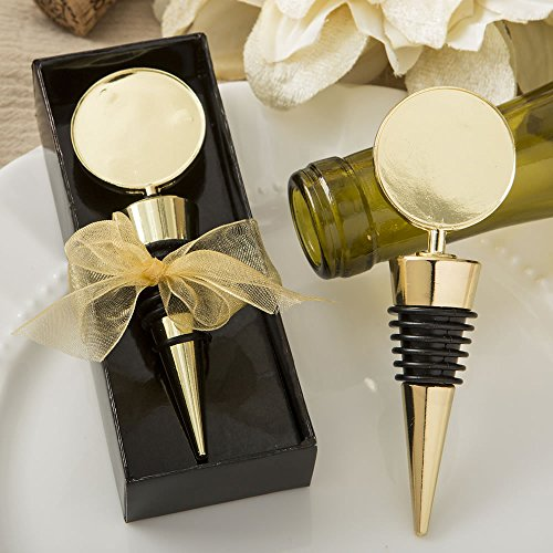 Stopper Wine Round (FavorOnline Gold Metal Wine Bottle Stopper with A Gold Metal Round Top from The Perfectly Plain Collection, 40)
