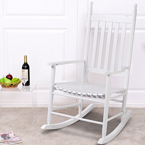 Porch Wood Rocker (Giantex Wood Outdoor Rocking Chair, Wooden Rocking Chairs for Porch, Patio, Living Room, Porch Rocker for adults (White))