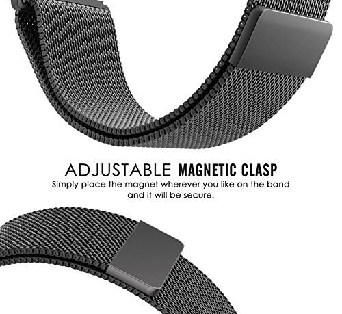 Samsung Gear Sport Watch Band , 20mm Stainless Steel Band + Milanese Loop Mesh Stainless Steel Metal Business Replacement Bracelet Strap for Samsung Gear Sport Smart Watch (2 black.) Photo #3
