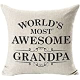 PSDWETS WORLD'S MOST AWESOME GRANDPA Home Decor Pillow Covers Cotton Linen Throw Pillow Case Cushion Cover 18 X 18