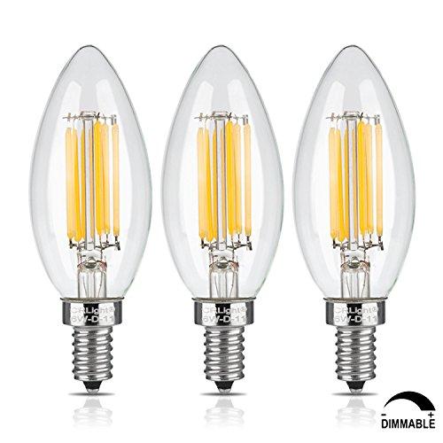 CRLight 700LM Dimmable LED Candelabra Bulbs 6W 2700K Warm White, 70W Equivalent E12 Base LED Candle Bulbs, C35...