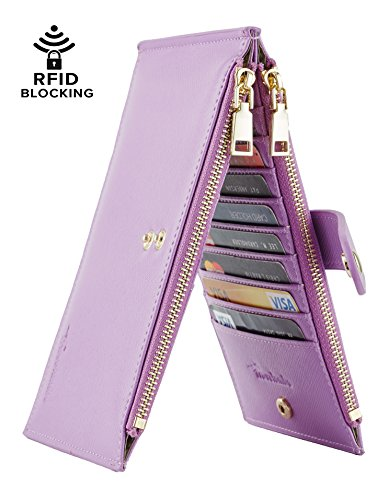Travelambo Womens Walllet RFID Blocking Bifold Multi Card Case Wallet with Zipper Pocket (synethic leather light purple)