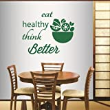 Wall Vinyl Decal Home Decor Art Sticker Eat Healthy Think Better Quote Phrase Salad Fruit Vegetable Kitchen Salad Bar Restaurant Room Removable Stylish Mural Unique Design