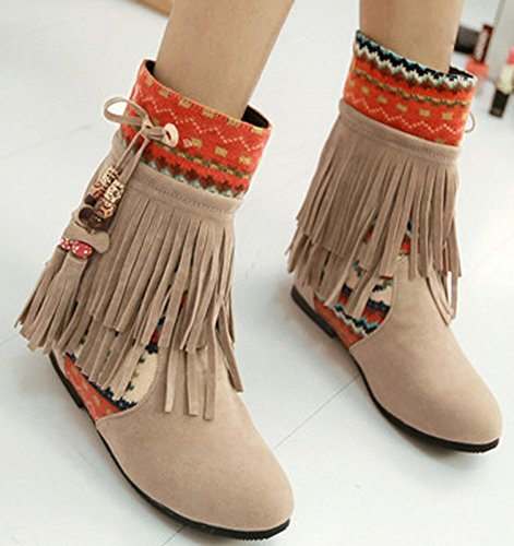 2413bf7dee durable modeling Women Tassel Shoes Round Closed Toe Hidden Heel Boots  Brown Asia Size 42