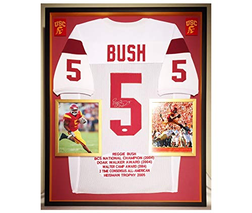 Premium Framed Reggie Bush Autographed/Signed USC Trojans Jersey - JSA COA