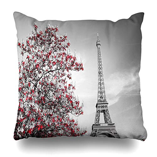 Ahawoso Throw Pillow Cover Square 16x16 Monumental White View Eiffel Tower Monochrome Attraction Selective Black Parks City Paris Arch History Zippered Cushion Case Home Decor - Arch Monumental