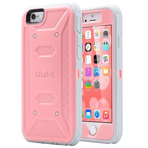 ULAK iPhone 6 Case (4.7 inch), iPhone 6s Case, KNOX ARMOR Full-body Rugged Dual Layer Hybrid Case Cover Pink