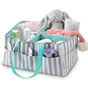 Stella Mia Diaper Caddy [Bonus Changing Pad] - Extra-Large Portable Nursery Diaper Stacker - Changing Table Organizer for Baby Essentials - Perfect Baby Shower Gift, Baby Registry Must Have