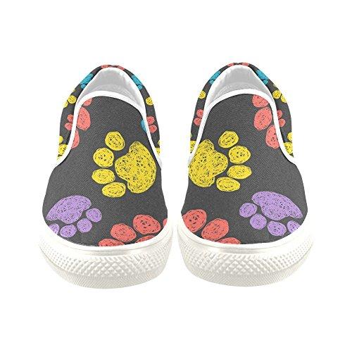 D-histoire Baskets Personnalisées Chien Coloré Patte Femmes Inhabituelles Slip-on Chaussures En Toile
