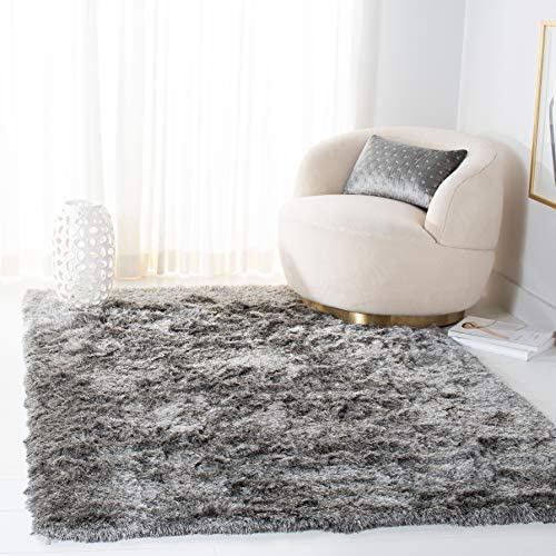 Safavieh Paris Shag Collection SG511-7575 Handmade Silken Glam Area Rug, 10 x 14 , Silver