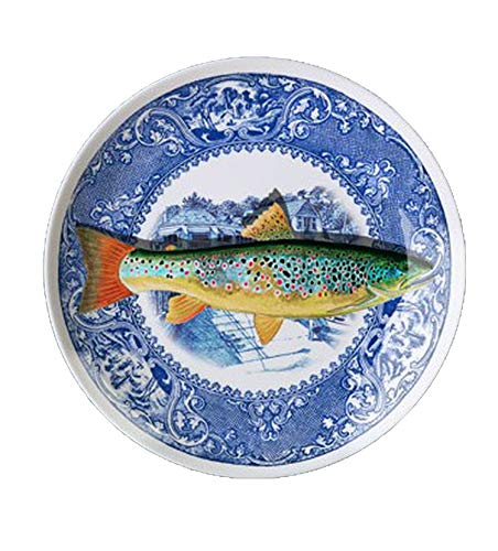 ONLY-FOR-ME-1 Blue and White Fish Dish Restaurant Background Wall Decoration Hanging Plate Ceramic Crafts Plate Ornaments,T1,12 inch]()