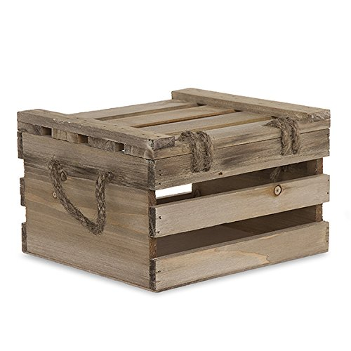 Wooden Crate Storage Box with Lid - Antique Light Brown - 7in