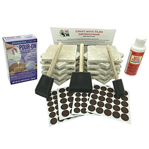 Coaster Tile Craft Kit, ULTIMATE Bundled Set w/ 16 Stone Travertine Turkish Tiles 4