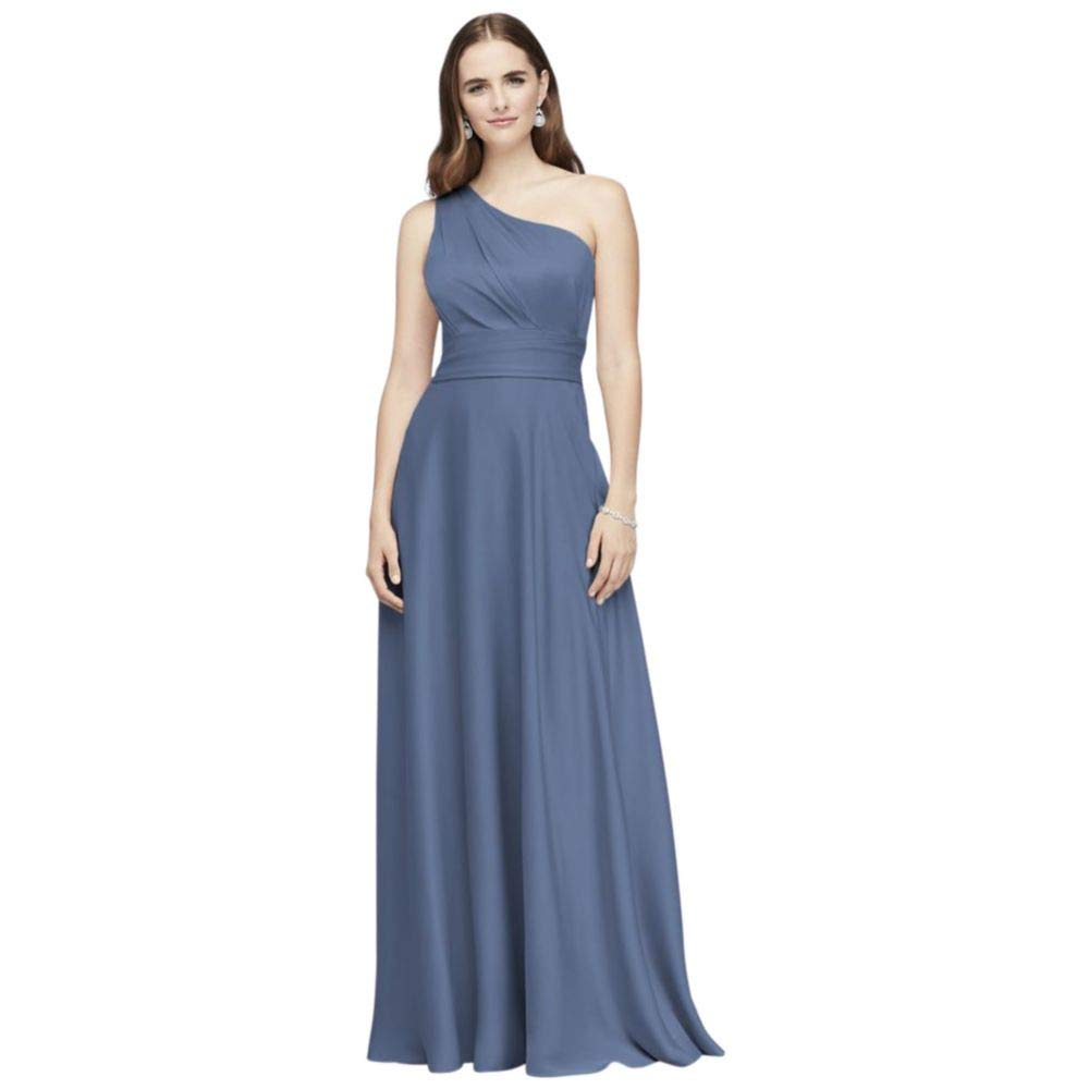 de3c9c3e51f David s Bridal Satin Crepe One-Shoulder Bridesmaid Dress Style OC290063 at  Amazon Women s Clothing store