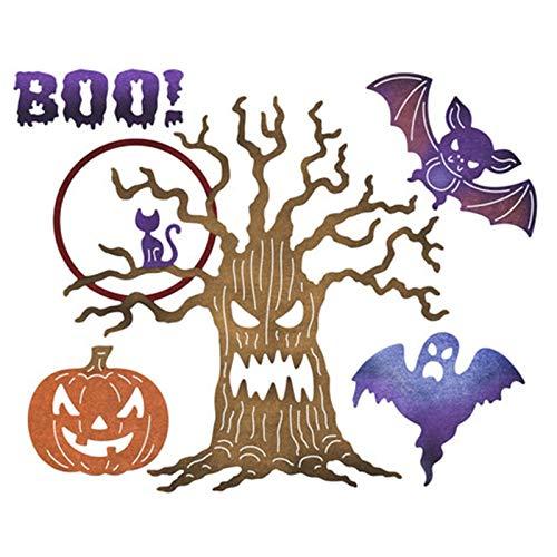 Davitu Tree Bat Boo Metal Cutting Dies Halloween Stencils for DIY Scrapbooking Album Paper Card Decor Craft Embossing New -