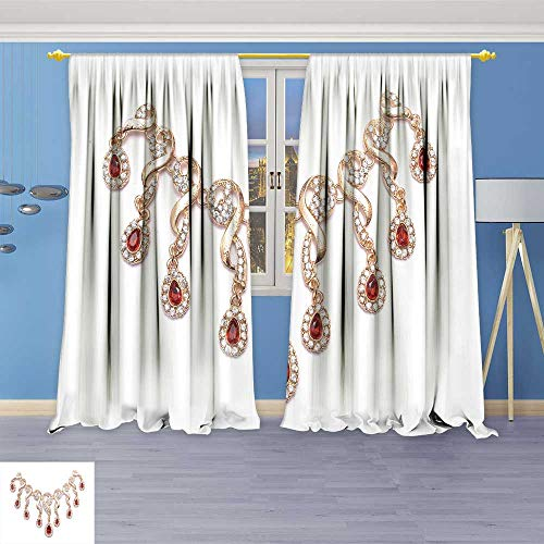 (SOCOMIMI Design Print Grommet top Thermal Insulated Necklace with Rubies Linen Room Darkening Curtains 108W x 72L inch)