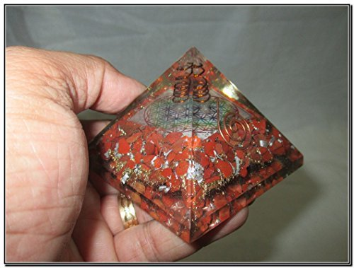 Pyramid Red Glass (Exquisite A++ Red Jasper Flower of Life Chakra Orgone Pyramid Crystal Gemstones Copper Metal Mix Rare Healing Positive Energy Tetrahedron Sacred Geometry Memory Concentration Meditation Spiritual Psychic Piezo Electric Effect Business Prosperity Success Destress Anxiety Disorder Love Power Mental Peace Strength Divine X-mas Mother's Day Father's Day Thanks Giving Birthday Anniversary Thinking of You Sorry Hug Get Well Soon Husband Wife Grand Father Children Pregnant Ladies New Born Babies Memory Motivation Inspiration Dream Reality Imagination Pagan Wicca Om Mantra Holy Pious Auspicious India Asia Negative Ion Enhancer Electromagnetic Waves Positive Frequency Valentine Celebration Event Function Office Opening Altar Worship Idol God Lord Sir Students Concentration)