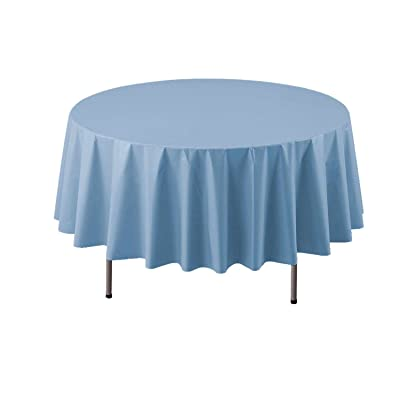 "Party Essentials Heavy Duty 84"" Round Plastic Table Cover Available in 22 Colors, Light Blue: Childrens Party Tablecovers: Kitchen & Dining"
