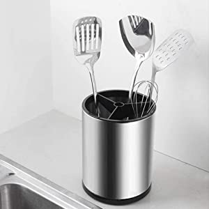 NNDQ Heavy Gauge Stainless Steel Tool Crock Utensil Flatware Holder, Flatware Caddy for Kitchen Home Office, Sturdy Silverware Drying Rack