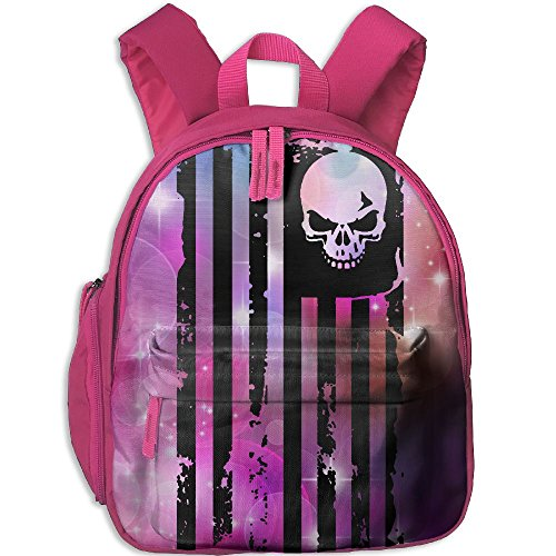 Dream-R School Backpack Skull Flag Children Printed Oxford Fabric Backpack With Front Pockets Pink