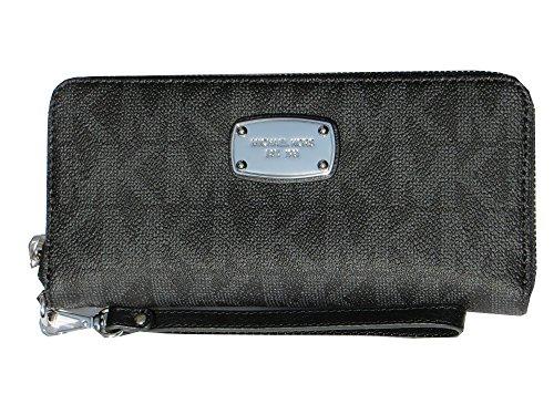 Michael Kors Jet Set Item Travel Continental Signature MK PVC Wallet Black by Michael Kors