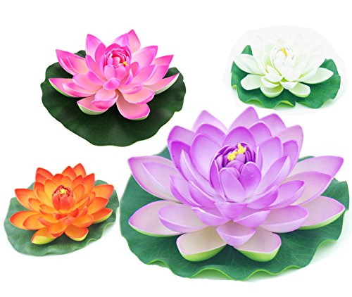 (Peach - Floating Water Lotus - Pond Decor Water Lily Foam Flower Artificial Pond Plants 4 Pcs)