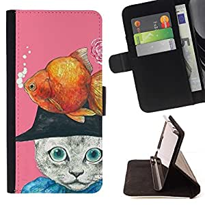For HTC DESIRE 816 Case , Gold Fish Cat Dibujo Abstracto- la tarjeta de Crédito Slots PU Funda de cuero Monedero caso cubierta de piel