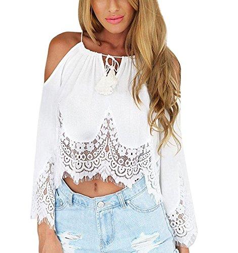 Blouse Dentelle Longues Blanc Minetom Epaule Shirt Tops Sexy Tops Haut Femme Nue Manches Chemise 64wxn7qxZ1