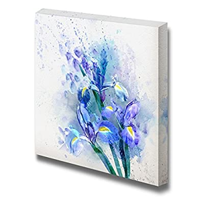 Canvas Prints Wall Art - Watercolor Floral Background, Beautiful Irises - 16
