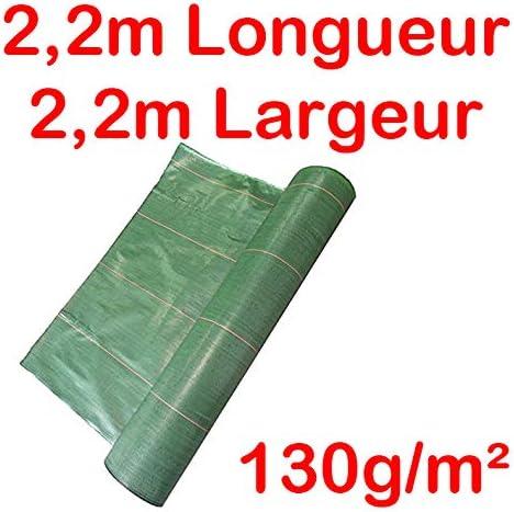 Toile Bache de paillage tiss/ée Anti-Mauvaises Herbes Largeur 2,2m Longueur 2,2m 130g//m2