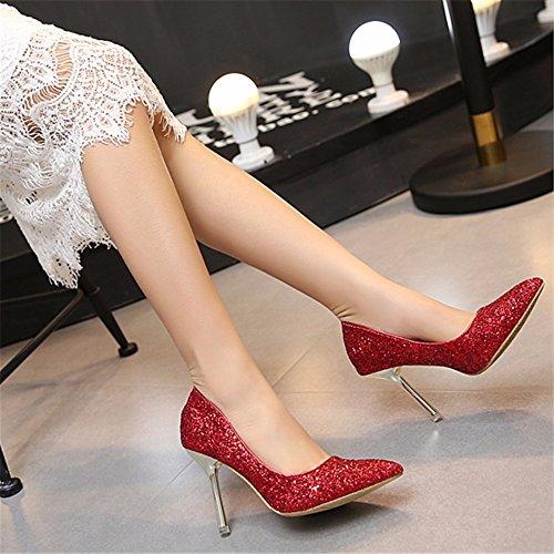 HXVU56546 Nuevo Señoras Tacón Alto Con Crystal Sequined Banquete Zapatos Zapatos De Moda red
