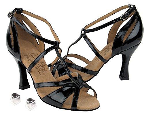 Zapatos Muy Finos Eks1002 De La Danza De Salón De Baile De Las Señoras Con La Patente Negra De 3 Talones