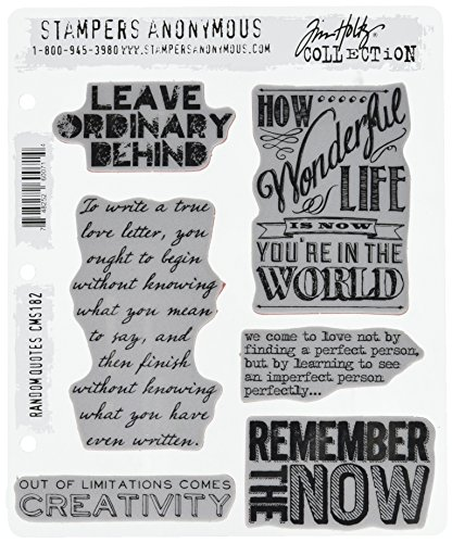 Stampers Anonymous Tim Holtz Cling Rubber Stamp Set, 7-Inch by 8.5-Inch, Random Quotes