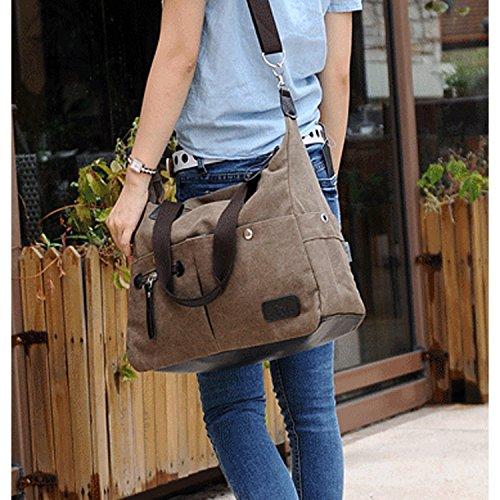 Outreo Vintage Bolsos Bandolera Mujer Bolso de Lona Marca Casual Messenger Bag Colegio universidad Grandes Bolsos Originales de Mano marrón