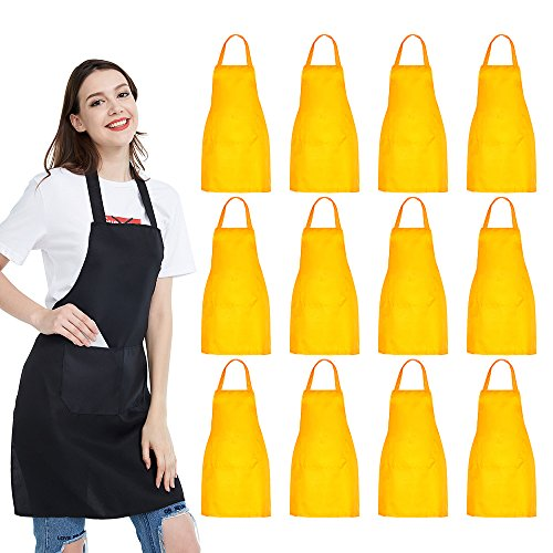 (NOBONDO 12 Pack Bib Apron - Unisex Durable Apron Bulk with 2 Roomy Pockets Machine Washable for Kitchen Crafting BBQ Drawing (Lemon))