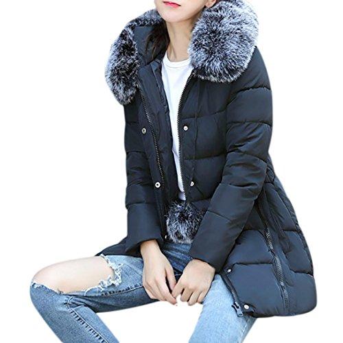 Cappuccio Lungo Slim Pelliccia Thick Byste Collo Outwear Imbottito Jacket Caldo Cotone Down Cappotto Nero Leggero Con Women Winter In Sintetica qwSPwx64nZ