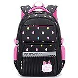 Uniuooi Primary School Bag Backpack for Girls 7-12 Years Old Waterproof Nylon Kids Schoolbag Laptop Bag Travel Rucksack (Black)