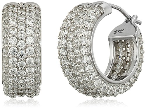 Platinum-Plated Sterling Silver Swarovski Zirconia All Round Pave Huggie Hoop Earrings