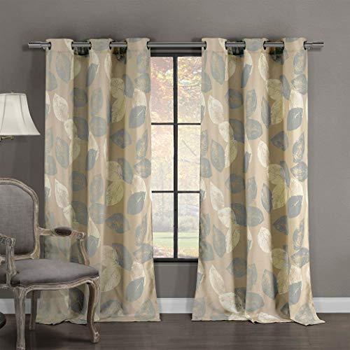 Duck River Textiles - Milzie Floral Leaf Linen Textured Grommet Top Window Curtains for Living Room & Bedroom - Assorted Colors - Set of 2 Panels (40 X 84 Inch - Grey)