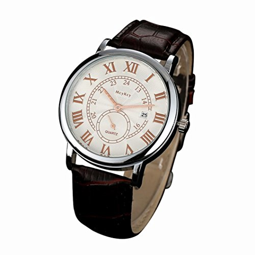 Womail McyKcy Mens Unique Classic Business Casual Design Leather Waterproof Quartz Analog Men's Date Strap Wrist Watch Stainless Steel Case ,50M Water Resistant , Comfortable Leather Band (Brown)