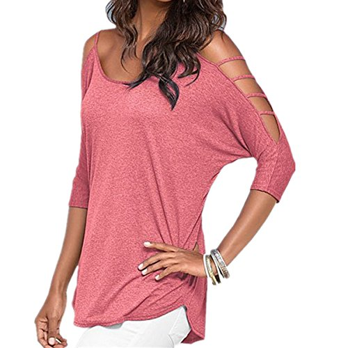 Longues Blouse Tee Manches Femme Sexy Fanessy Femme Court Femme Rose Top Tunika Shirt Tunique Dbardeur Chic 070pSUWqn